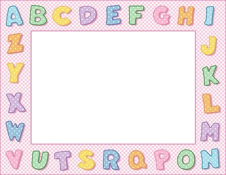 nursery education: Pastel Polka Dot Marco alfabeto con Espacio en blanco