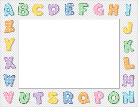 nursery education: Pastel Polka Dot Alphabet Frame with Copy Space