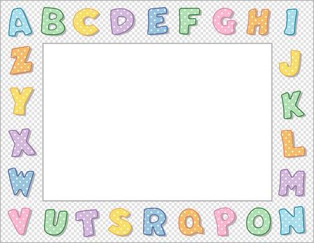 write abc: Pastel Polka Dot Marco alfabeto con Espacio en blanco