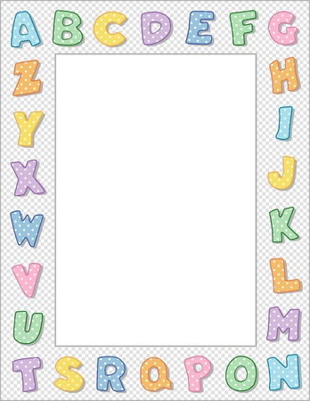 old people reading: Pastel Polka Dot Alphabet Frame with Copy Space