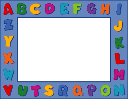 Alphabet Frame, Blue Background Vector