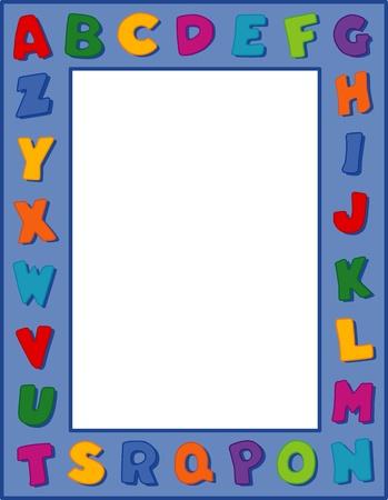 Alphabet Frame, Blue Background