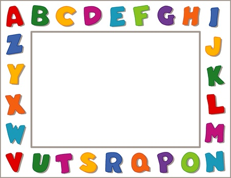 nursery school: Alphabet Frame, White Background Illustration