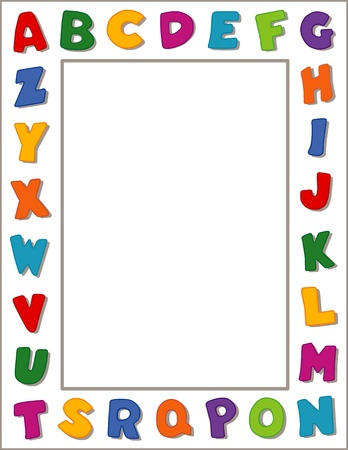 Alphabet Frame, White Background Çizim