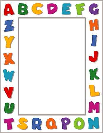 stationery border: Alphabet Frame, White Background Illustration