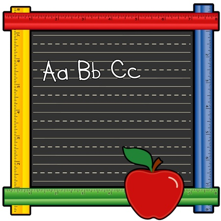 Blackboard Ruler Frame with ABCs, apple for the teacher Vector