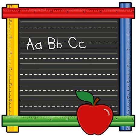 Blackboard Ruler Frame with ABCs, apple for the teacher
