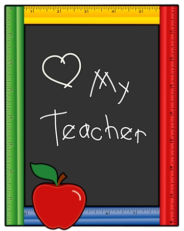 Love My Teacher Blackboard Ruler Frame Vector