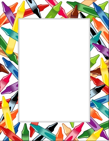 Crayon Frame with copy space Vector
