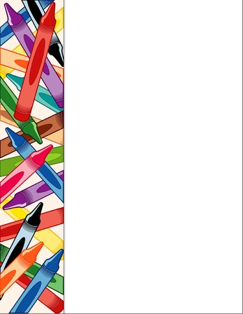 preschool poster: Crayon Side Border Frame with copy space