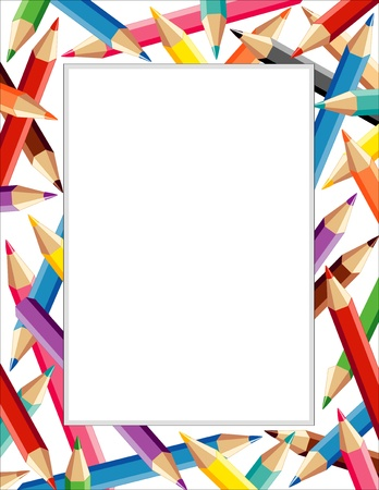 nursery school: Colored Pencil Frame with copy space