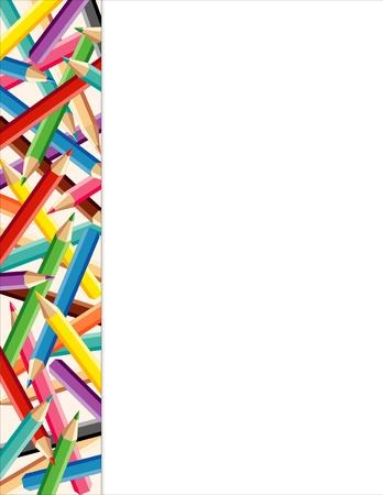 nursery education: Lado de color L�piz borde del marco con copia espacio