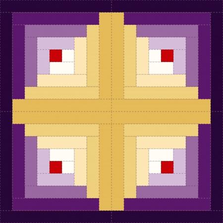 stitchery: Quilt Block, Log Cabin Pattern, Barn Raising Design, traditional stitched patchwork