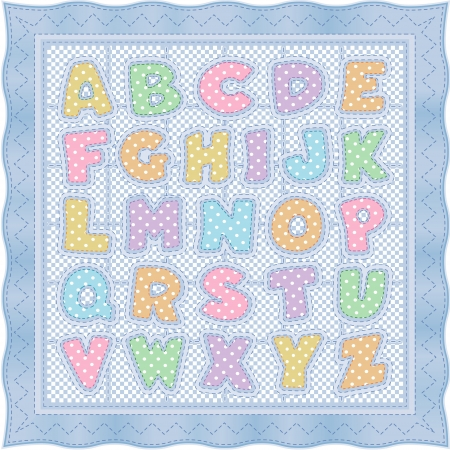 Alphabet Baby Quilt, pastel polka dots, gingham, blue satin border, stitches  Vector