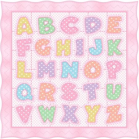 Alphabet Baby Quilt, pastel polka dots, gingham, pink satin border, stitches  Stock Illustratie