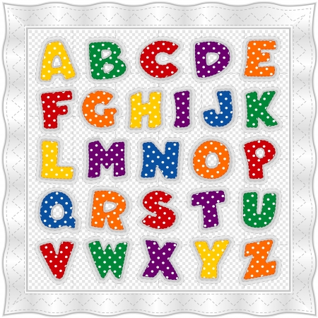 Alphabet Baby Quilt, polka dots, gingham, white satin border, stitches Stok Fotoğraf - 13607157