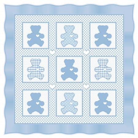 Teddy Bear Baby Quilt vintage pattern, blue pastel gingham, polka dots