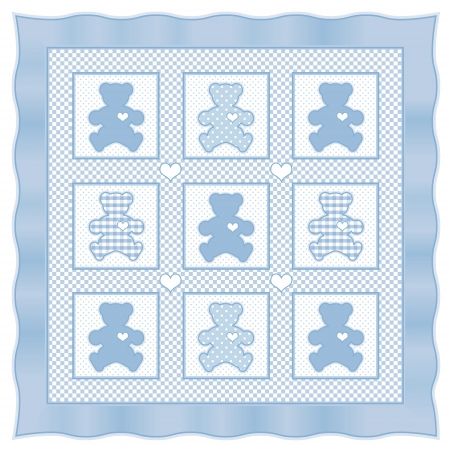 Teddy Bear Baby Quilt vintage pattern, blue pastel gingham, polka dots  Vector