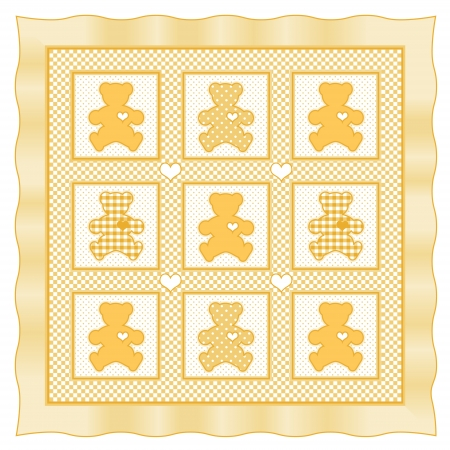 Teddy Bear Baby Quilt vintage pattern, yellow pastel gingham, polka dots  Vector