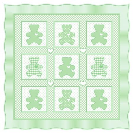 Teddy Bear Baby Quilt vintage pattern, green pastel gingham, polka dots