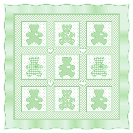 Teddy Bear Baby Quilt vintage pattern, green pastel gingham, polka dots  Stock Vector - 13607159