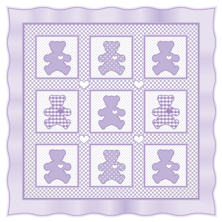 Teddy Bear Baby Quilt vintage pattern, lavender pastel gingham, polka dots  Stock Vector - 13607152