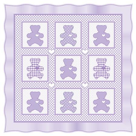 Teddy Bear Baby Quilt vintage pattern, lavender pastel gingham, polka dots  Vector