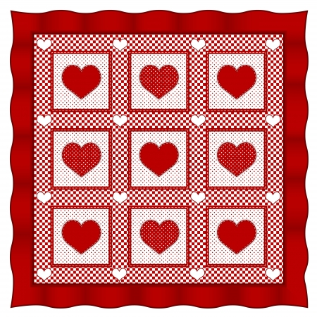 Love of Hearts Quilt, old fashioned pattern in Valentine red and white gingham, polka dots   Vector