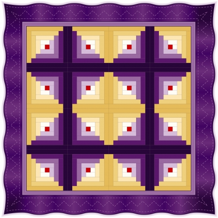 quilt: Quilt, Log Cabin Pattern, Barn Raising Design, traditional stitched patchwork