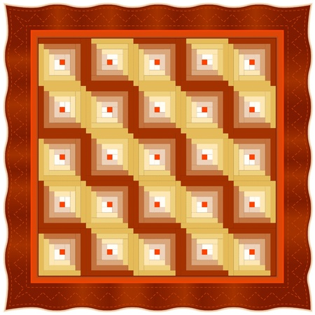 Quilt, Log Cabin Pattern, Straight Furrow Design, traditional stitched patchwork  Vector