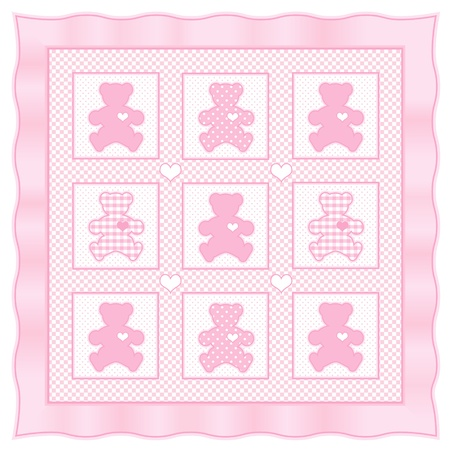 Teddy Bear Baby Quilt vintage pattern, pink pastel gingham, polka dots