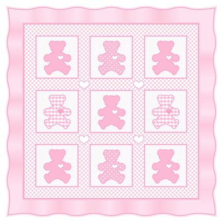 stitchery: Teddy Bear Baby Quilt vintage pattern, pink pastel gingham, polka dots