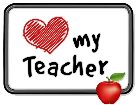 educadores: Amo a mi tabl�n de anuncios de Maestro con una manzana para el maestro Vectores
