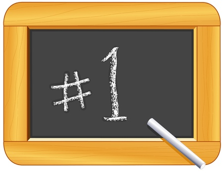 Number One on Wood Frame Blackboard with Chalk