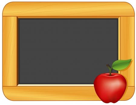 Apple, Drewno Ramka Tablica z kopią przestrzeni edukacji i powrót do szkolnych projektów