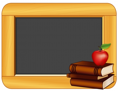 noticeboard: Books, Apple, Blackboard with copy space for education and back to school projects