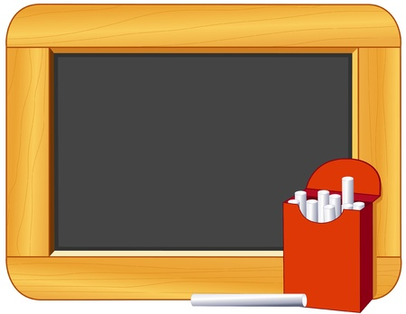 Chalk, Wood Frame Blackboard with copy space for education and back to school projects Vector