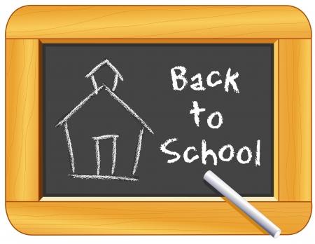 schoolhouse: Chalk Schoolhouse, Back to School text on Wood Frame Blackboard