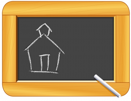 Chalk Schoolhouse on Wood Frame Blackboard with copy space for education and back to school projects