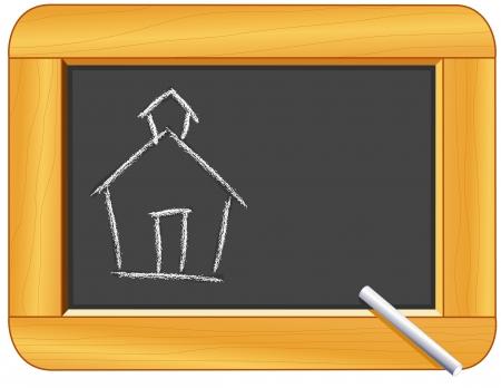 Krijt Schoolhouse op hout Frame Blackboard met kopie ruimte voor onderwijs en terug naar school projecten