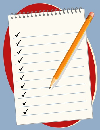 checklist: Spiral Paper Notebook with copy space, checkmarks, pencil