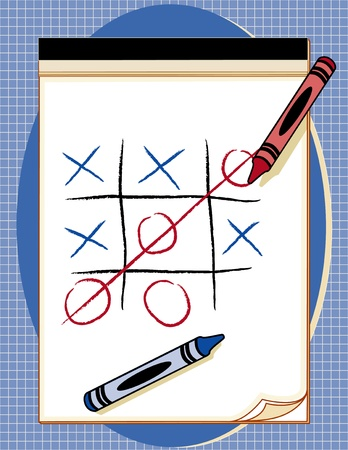 scratch pad: Tic Tac Toe Game on paper drawing tablet with crayons
