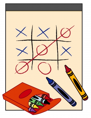 scratch pad: Tic Tac Toe Game on paper drawing tablet with box of crayons