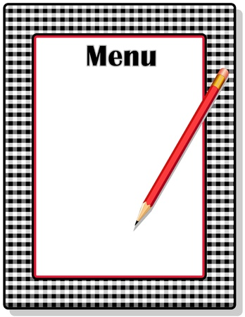 gingham: Retro Menu with black gingham check frame and pencil, for restaurant, diner, cafe or bistro