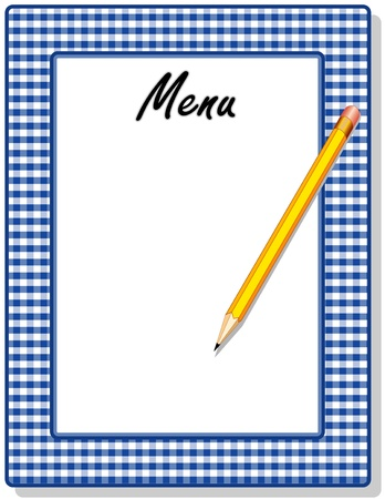 Retro Menu with blue gingham check frame and pencil, for restaurant, diner, cafe or bistro