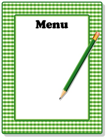 Retro Menu with green gingham check frame and pencil, for restaurant, diner, cafe or bistro