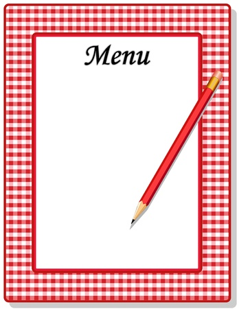 gingham: Retro Menu with red gingham check frame and pencil, for restaurant, diner, cafe or bistro