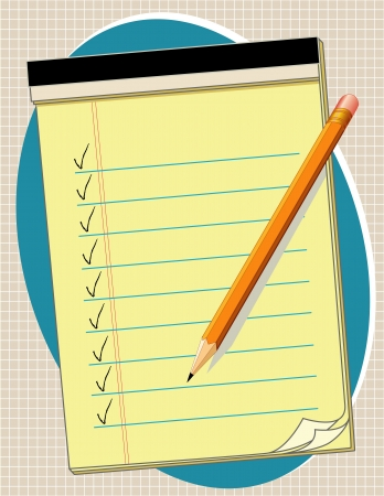 Yellow Legal Paper Pad with copy space, check marks and pencil Stock Vector - 13699656
