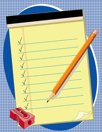 Yellow Legal Paper Pad with copy space, check marks, pencil and sharpener