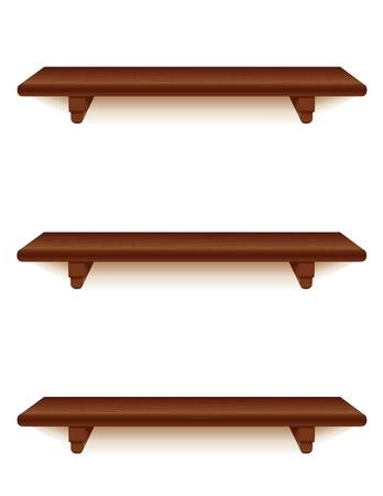 Mahogony 木製の壁の棚ブラケット白で隔離されます。 写真素材 - 13699685